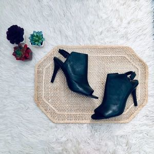 H by Halston Black Leather Ivy Peep Toe Boots